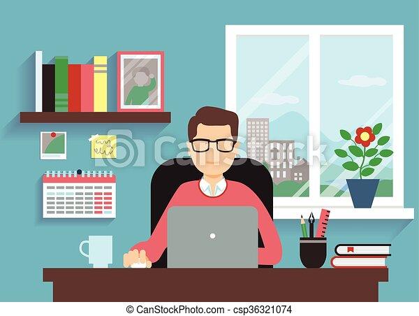 Hombre con portátil - csp36321074