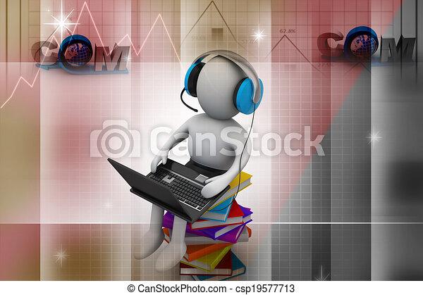 Hombre 3D y portátil con libros - csp19577713