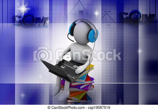 Hombre 3D y portátil con libros - csp19587519