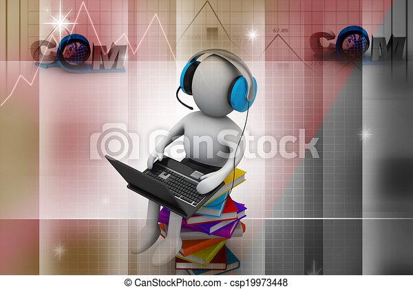 Hombre 3D y portátil con libros - csp19973448