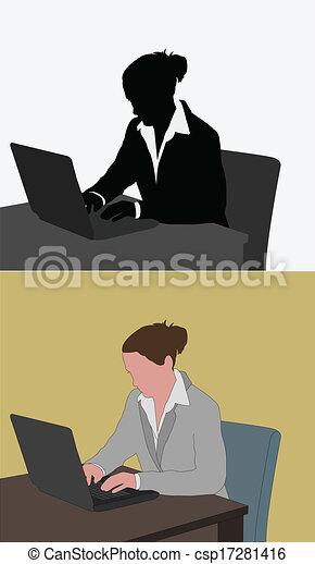 Una mujer trabajando en su portátil - csp17281416