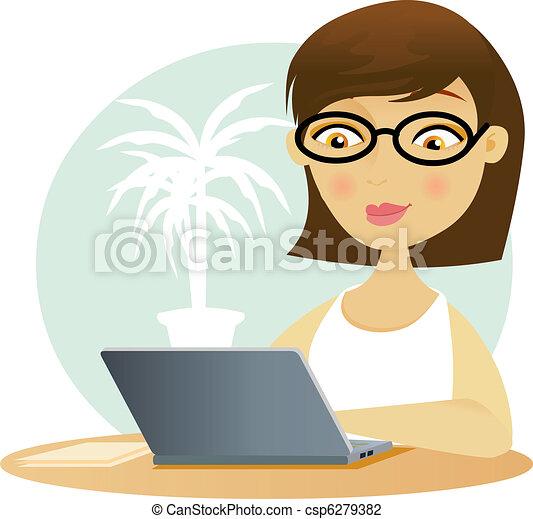 Una mujer trabajando en su portátil - csp6279382