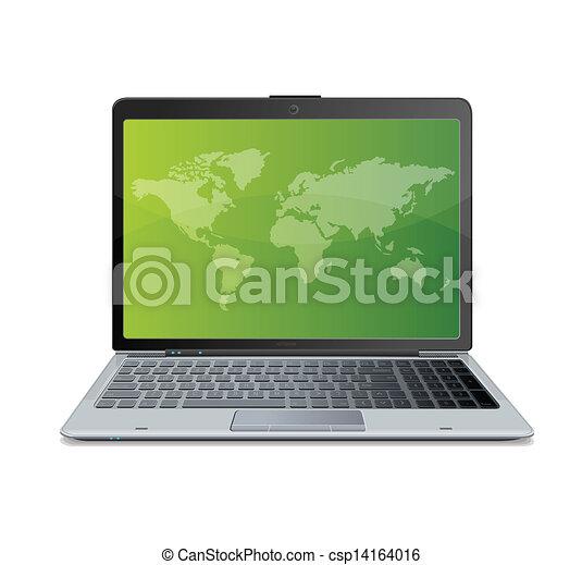 El portátil está aislado en blanco - csp14164016