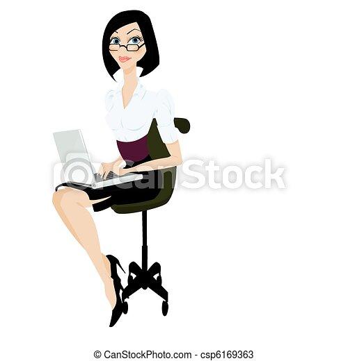computador portatil, vector, ilustración, mujer - csp6169363