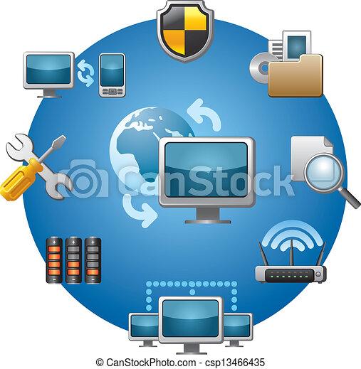 computadora, conjunto, red, icono - csp13466435