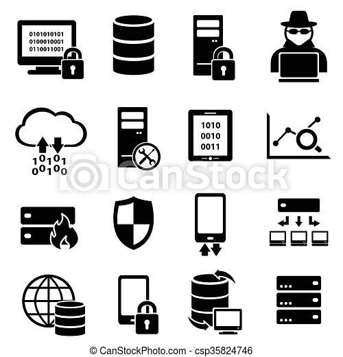 Computadora, tecnología, iconos de datos - csp35824746