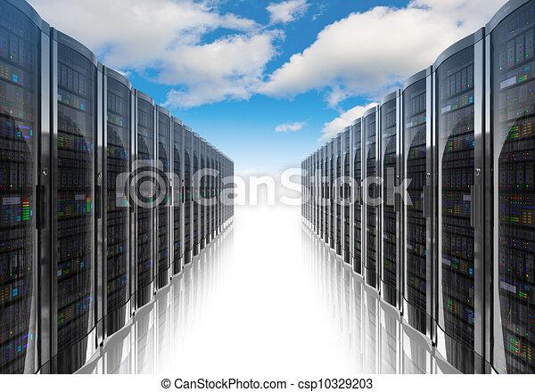 Computadora de nubes y concepto de red de computadoras - csp10329203