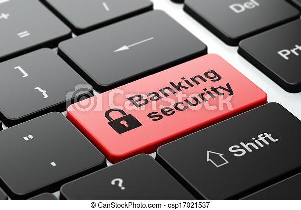 Concepto de protección: candado cerrado y seguridad bancaria en el fondo del teclado del ordenador - csp17021537