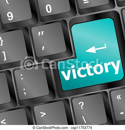 Teclado de computadora con llave de la victoria - csp11753774