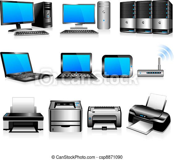 computadoras, tecnología, impresoras - csp8871090