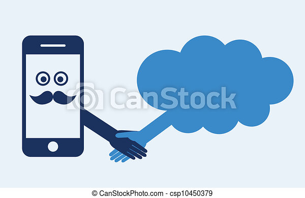 computando, móvel, concept., mão, telefone, server., contato, abanar, faz, nuvem - csp10450379
