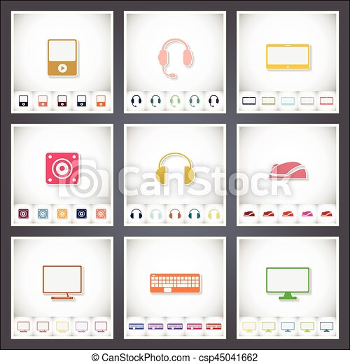 Computer. A set of flat stickers with shadow on white background - csp45041662