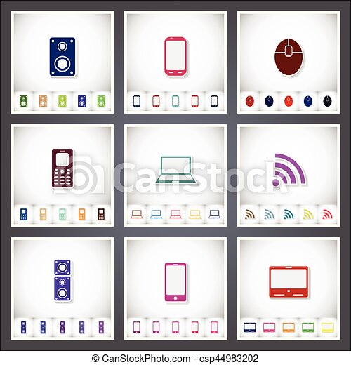 Computer. A set of flat stickers with shadow on white background - csp44983202