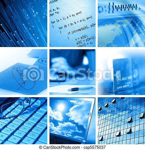 Computer and business collage - csp5575037