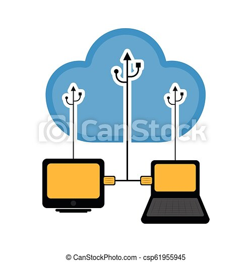 Computer and laptop connected to cloud technology - csp61955945