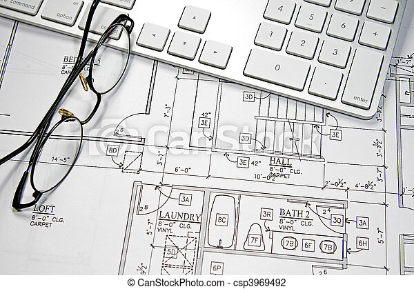 Computer blueprint modern architects office with stock photo computer blueprint csp3969492 malvernweather Images