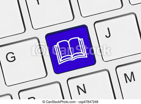 computer, boek, klee, toetsenbord - csp47847248