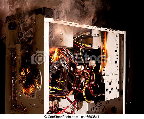 Computer Burning Inside Of A Desktop Computer Burning On Fire Canstock