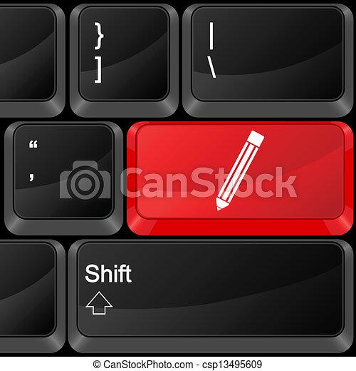 computer button pen - csp13495609