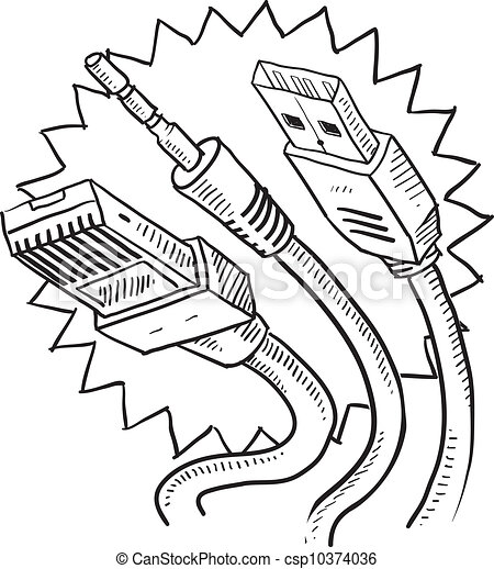 Computer Cables Sketch Doodle Style Computer Cables Sketch In