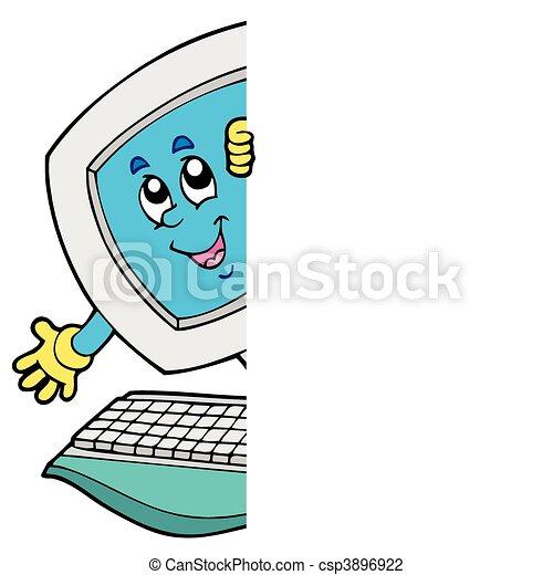computer, cartoon, lurking - csp3896922