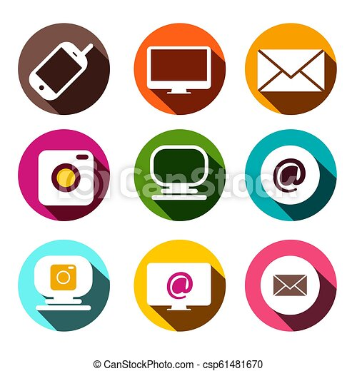 Computer, Cellphone Camera, At - Email and Camera Icons. Vector Flat Design Technology Items App Symbols Set in Colorful Circles. - csp61481670
