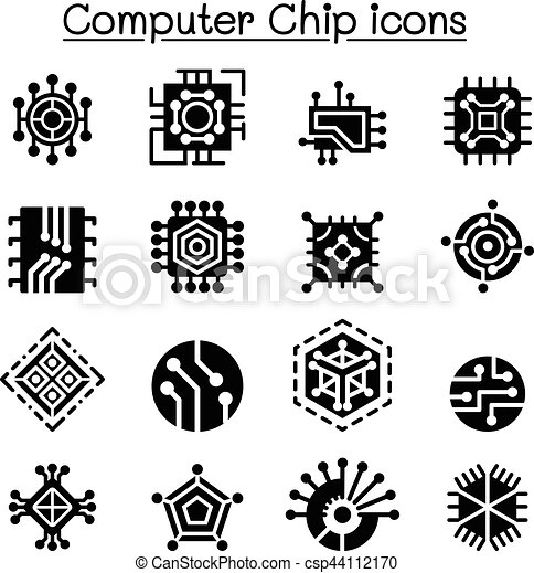 computer chips and electronic circuit icons Circuit Board Vector Circuit Board Design