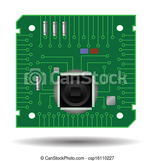 Colorful illustration with computer circuit board for your... vector ...