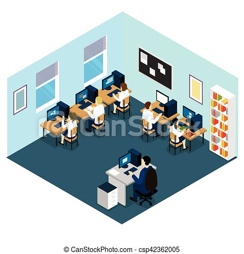 computer class isometric layout computer class isometric layout rh canstockphoto com 2017-2018 Clip Art School Library Clip Art