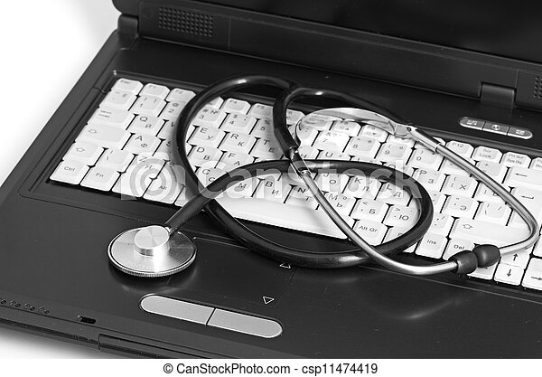 computer concept with stethoscope on laptop, - csp11474419