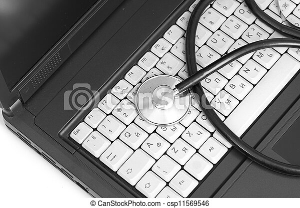 computer concept with stethoscope on laptop, - csp11569546