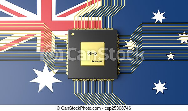 Computer CPU with flag of Australia background - csp25308746