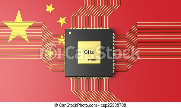 Computer CPU with flag of China background - csp25308788
