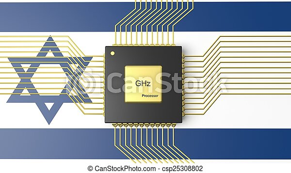 Computer CPU with flag of Israel background - csp25308802