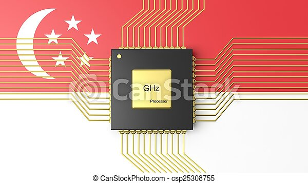 Computer CPU with flag of Singapore background - csp25308755
