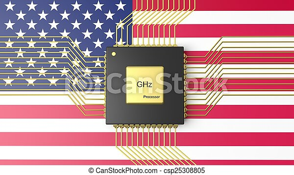 Computer CPU with flag of USA background - csp25308805