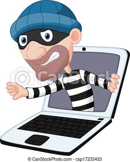 vector illustration of computer crime cartoon vectors search clip rh canstockphoto com crime prevention clipart free crime scene clipart