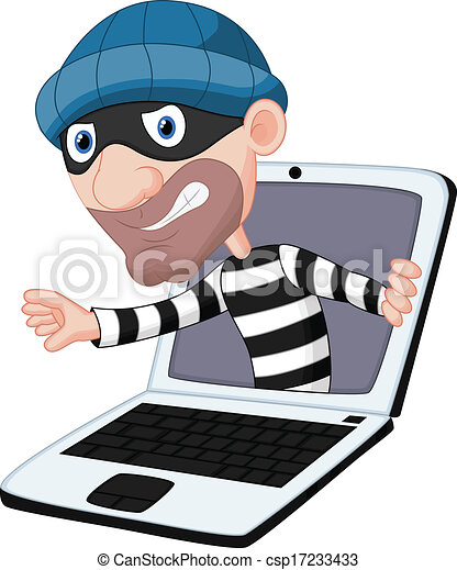 vector illustration of computer crime cartoon vectors search clip rh canstockphoto com crime prevention clipart crime prevention clipart images