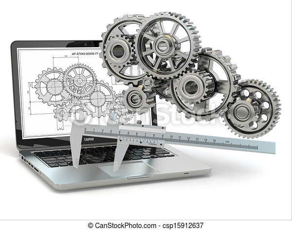 computer-design, engineering., ギヤ, ラップトップ, trammel, draft. - csp15912637