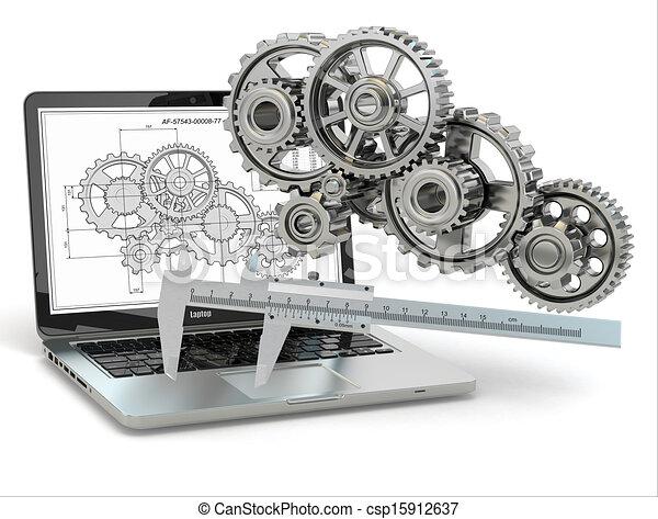 computer-design, engineering., engrenagem, laptop, trammel, draft. - csp15912637
