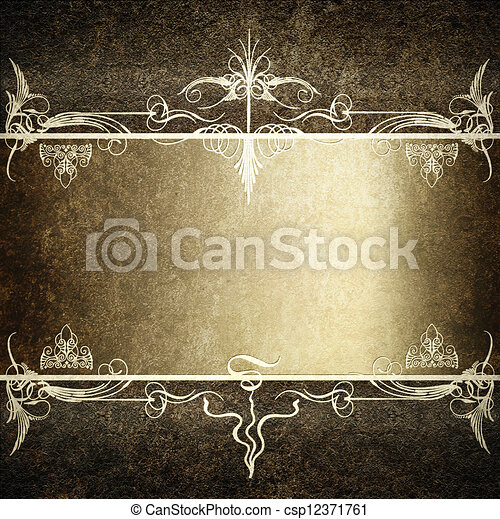 Computer designed highly detailed dark grunge border frame with gray silver ribbon, vintage texture - csp12371761
