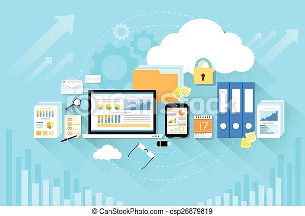 Computer device data cloud storage security flat design - csp26879819