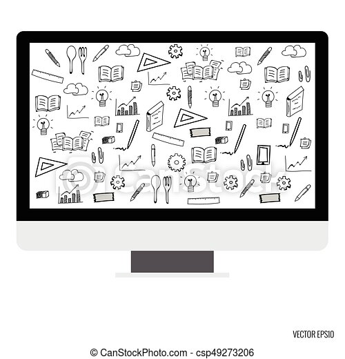 Computer display with application icons. Vector illustration - csp49273206