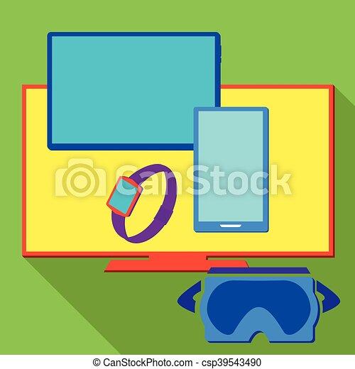Computer electronic equipment set, vector illustration - csp39543490