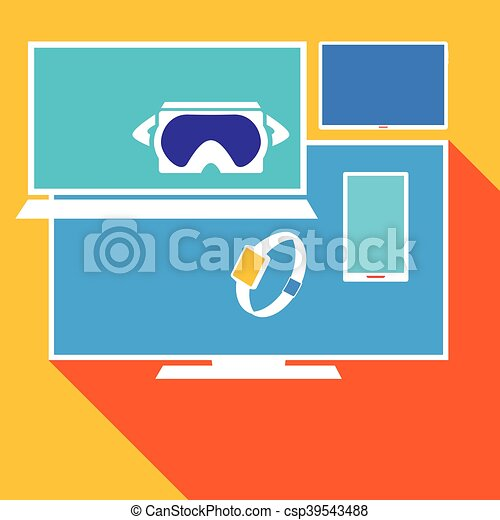 Computer electronic equipment set, vector illustration - csp39543488