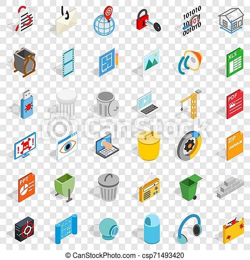 Computer file icons set, isometric style - csp71493420