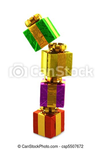 computer generated image of a pile of colorful presentes siolated on white background - csp5507672
