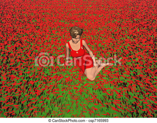Computer Generated Woman In Field Of Red Flowers