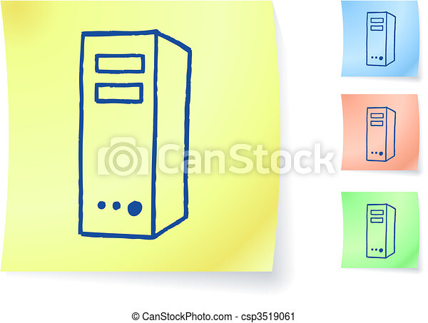 computer graphic on sticky note - csp3519061