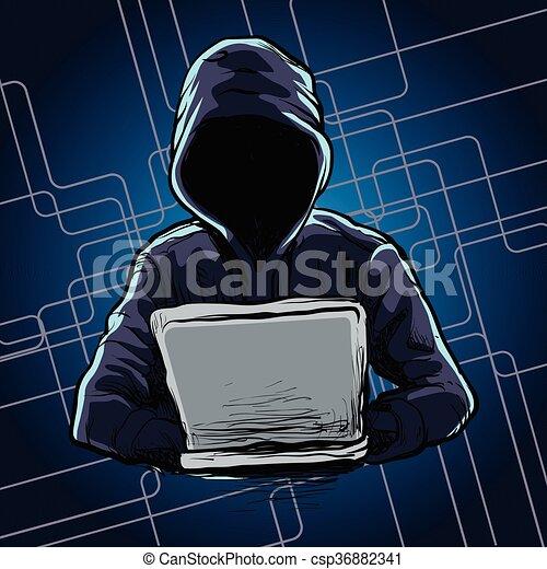 Computer hacker spread a net  - csp36882341